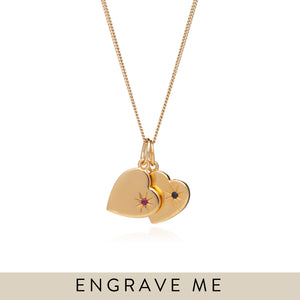 Double Birthstone Heart Necklace - Gold
