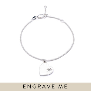 Diamond Heart Bracelet - Silver