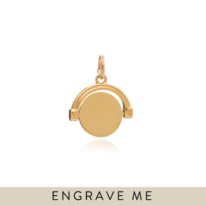 Engravable Mini Spinner Charm - Gold