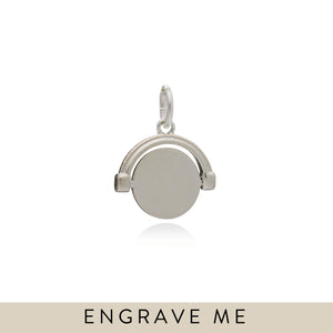Engravable Mini Spinner Charm - Silver
