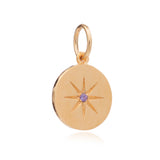 Mother of Daughters February Birthstone disc charm gold Rachel Jackson London