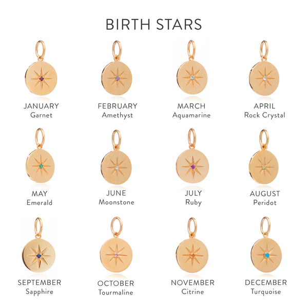 September Birth Star Charm - Gold