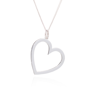 Engravable Statement Heart Mid-Length Necklace - Silver