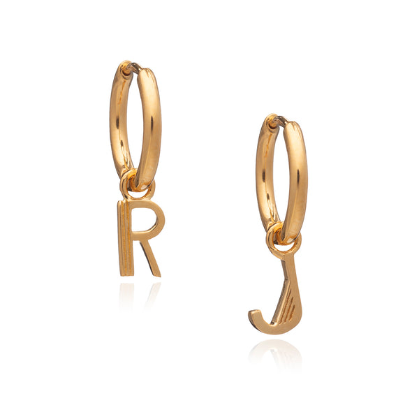 Art Deco Initial Hoop Earrings - Gold