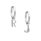 Art Deco Initial Hoop Earrings - Silver