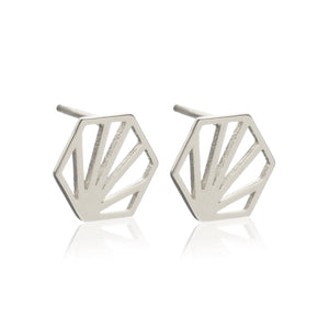 Serenity Hexagon Stud Earrings - Silver