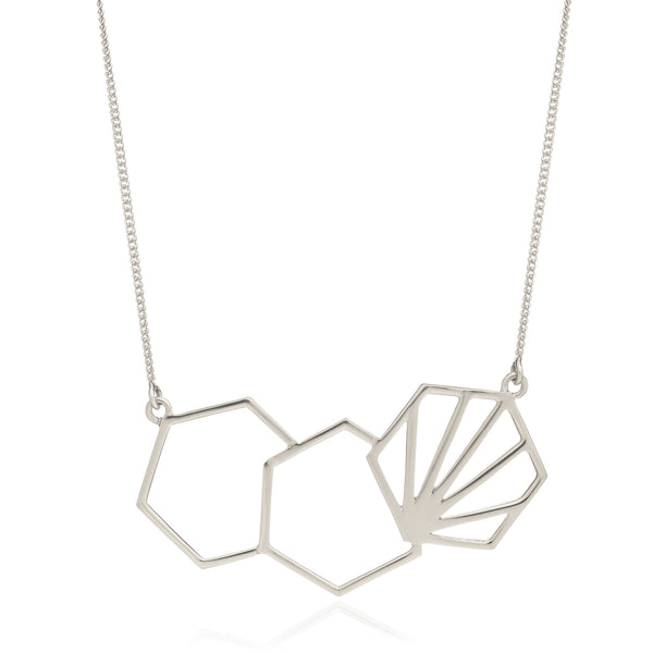 Hexagon silver necklace Rachel Jackson London