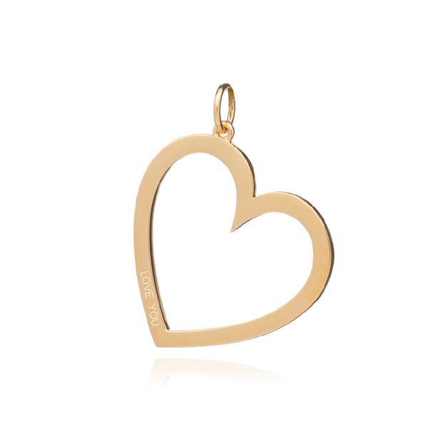 Statement Heart Charm Necklace - Gold