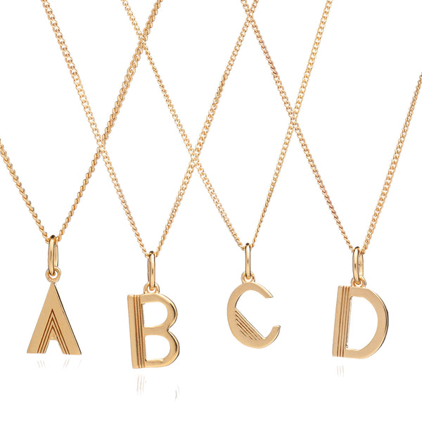 Mid Length Art Deco Initial Necklace - Gold
