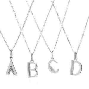 Mid Length Art Deco Initial Necklace - Silver
