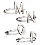Single Initial Ring - Adjustable - Silver