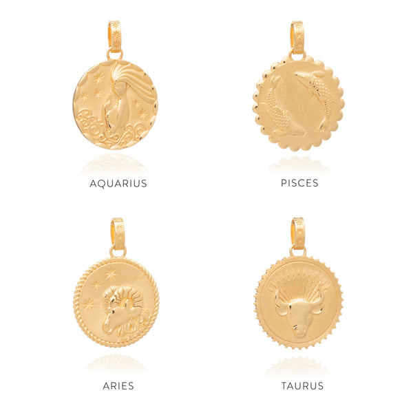 Statement Zodiac Art Coin Necklace - Gold