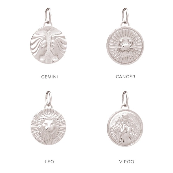 Zodiac Art Coin Duo Necklace - Silver