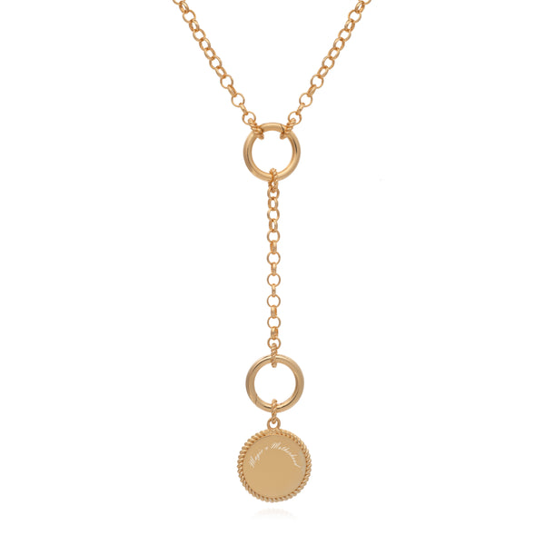 Dina Tokio Gold Y Necklace with Crescent Moon Coin