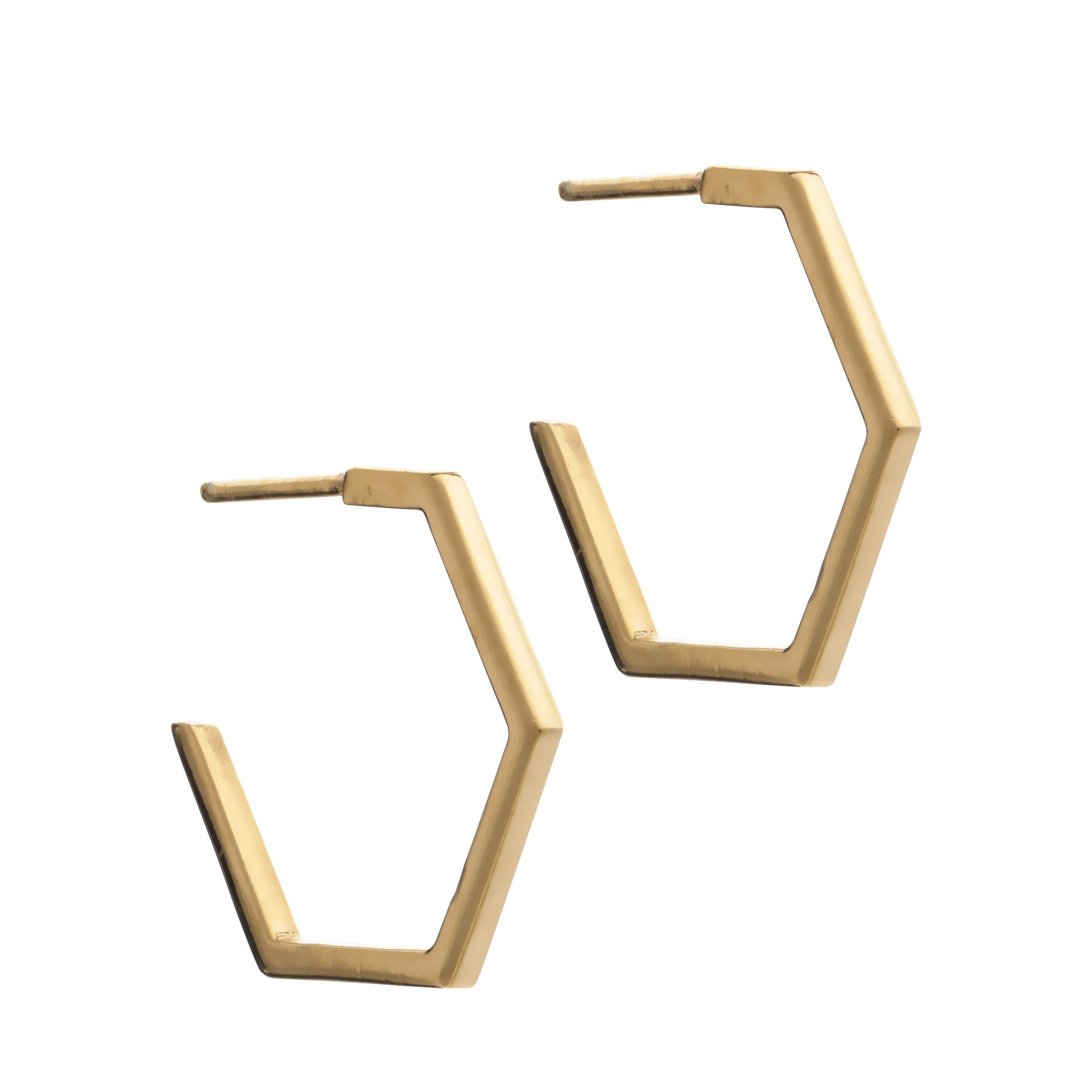 Hexagon hoop earrings gold Rachel Jackson London