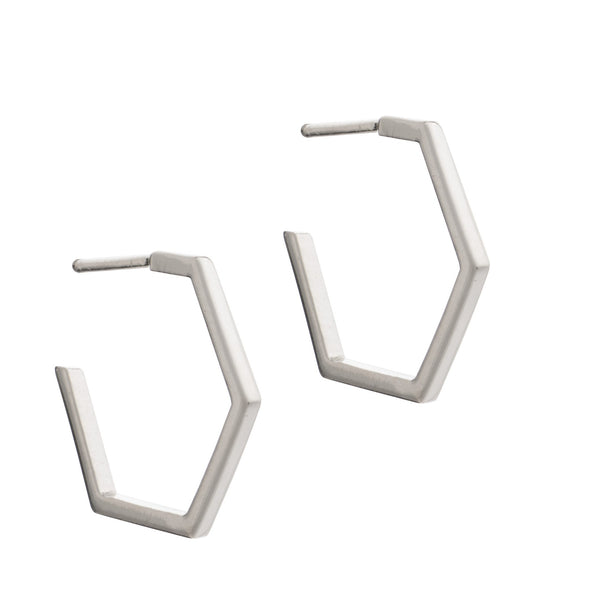 Hexagon hoop earrings silver Rachel Jackson London