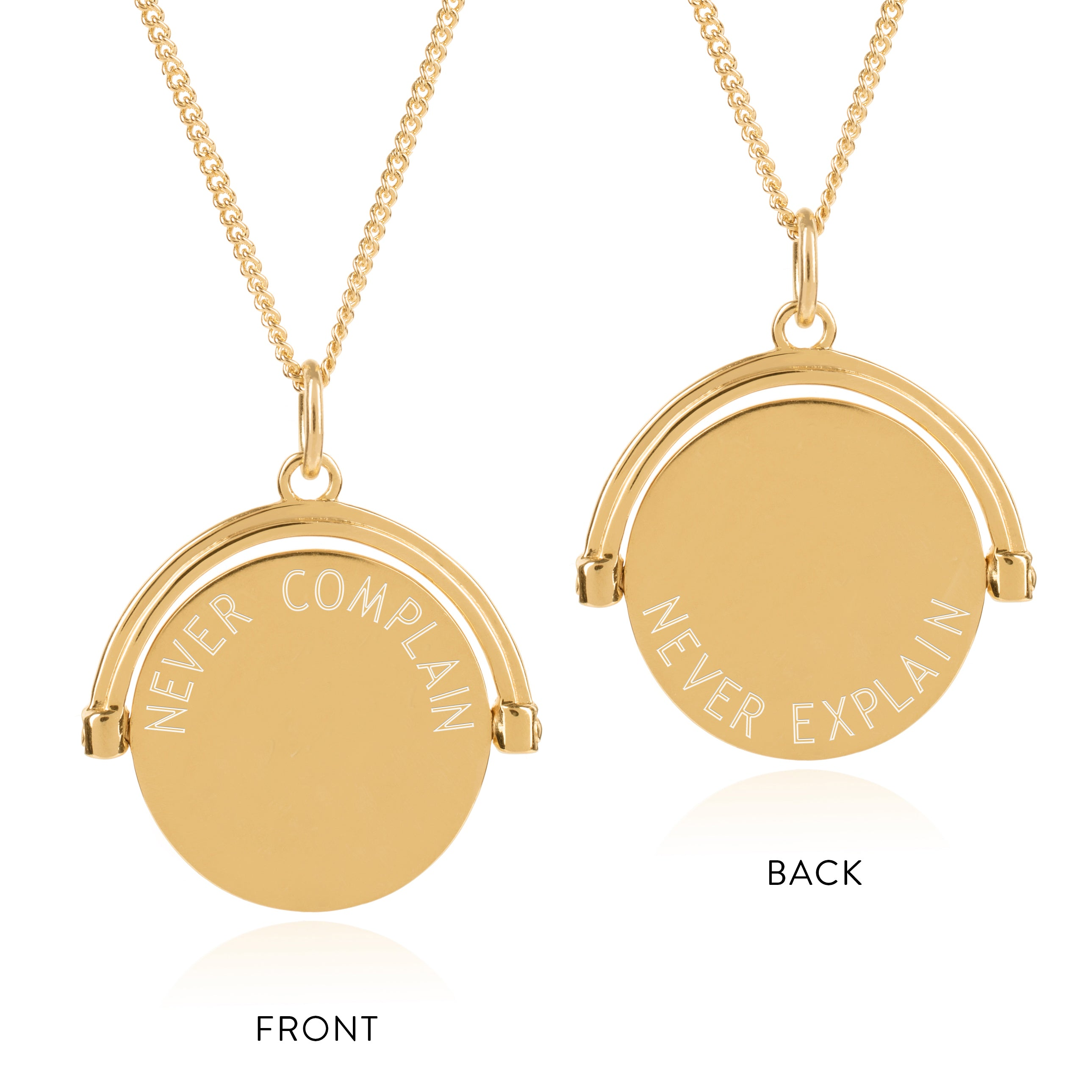 Never compain Never explain Spinning pendant gold necklace Rachel Jackson London