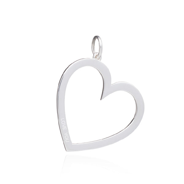 Statement Heart Charm Necklace - Silver