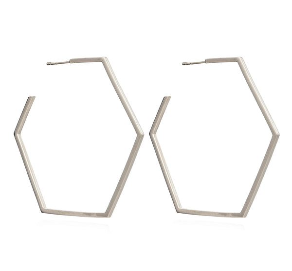 Oversized large hexagon hoops silver Rachel Jackson London
