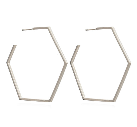 Oversized Hexagon Hoop Earrings in Silver