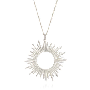 Electric Goddess Statement Sun Necklace - Silver