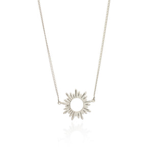 Electric Goddess Mini Sun Necklace - Silver