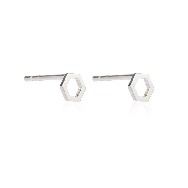 Hexagon Outline Studs - Rachel Jackson London