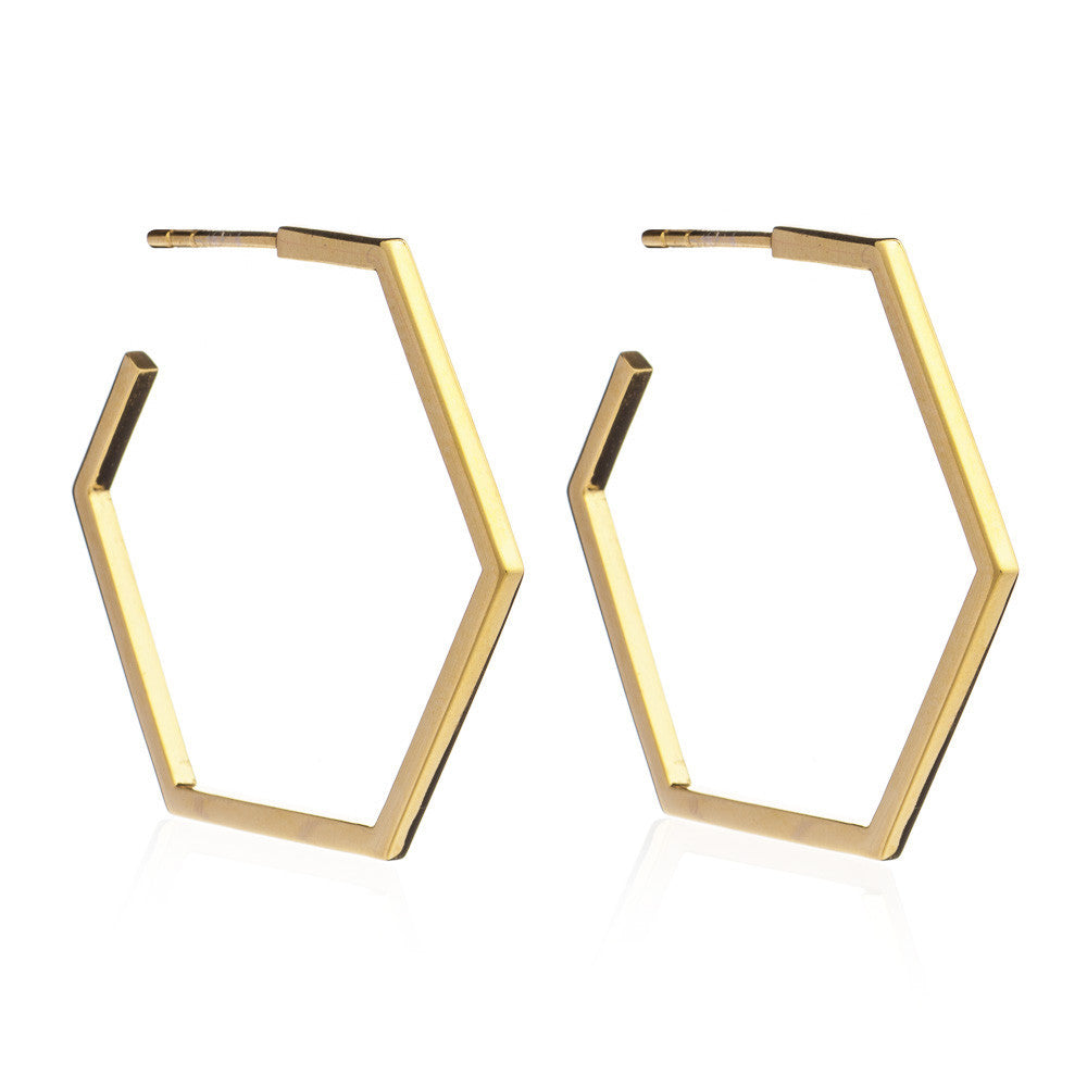 Hexagon hoops large gold Rachel Jackson London
