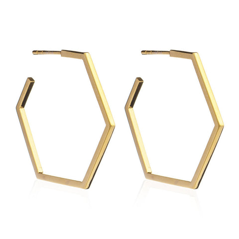 Large Hexagon Hoop Earrings