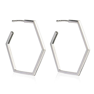 Large Hexagon Hoop Earrings - Silver