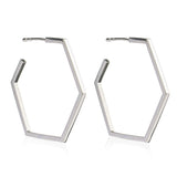 Hexagon hoops large silver Rachel Jackson London
