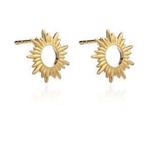 Electric Goddess Sun Stud Earrings - Gold