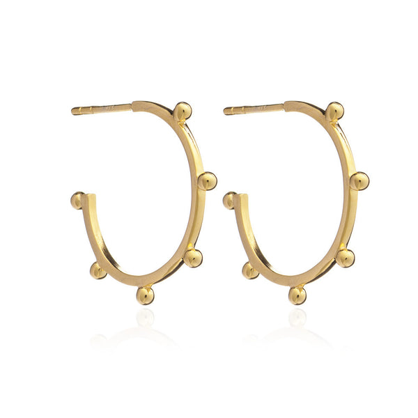 Medium Studded hoops gold Rachel Jackson London