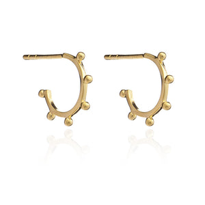 Mini Punk Hoop Earrings - Gold