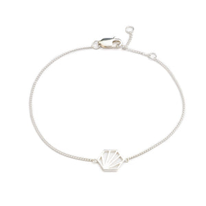Serenity Hexagon Chain Bracelet - Silver