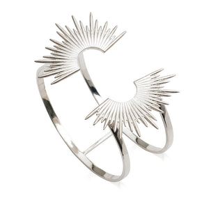 Electric Goddess Statement Sun Bangle - Silver