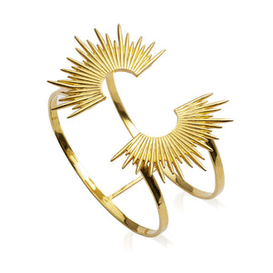 Electric Goddess Statement Sun Bangle - Gold