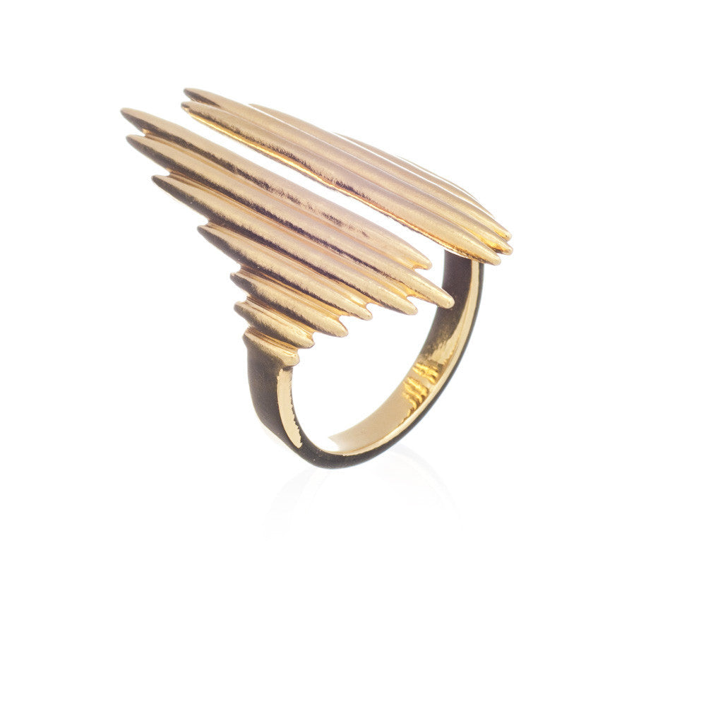 Sun ray gold ring adjustable Rachel Jackson London