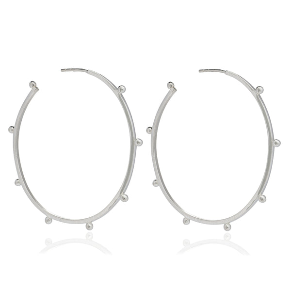 Large studded hoops silver Rachel Jackson London