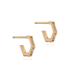 Diamond Hexagon Hoop Earrings - Gold Vermeil