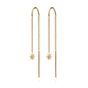 Rockstar Threader Chain Earrings - Gold