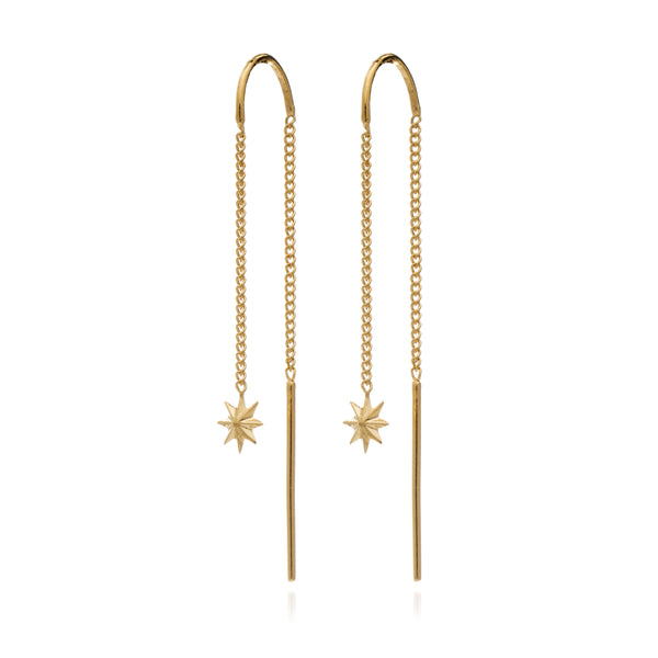 Star chain threader earrings gold Rachel Jackson London