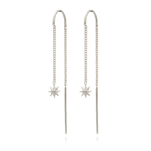Rockstar Threader Chain Earrings - Silver