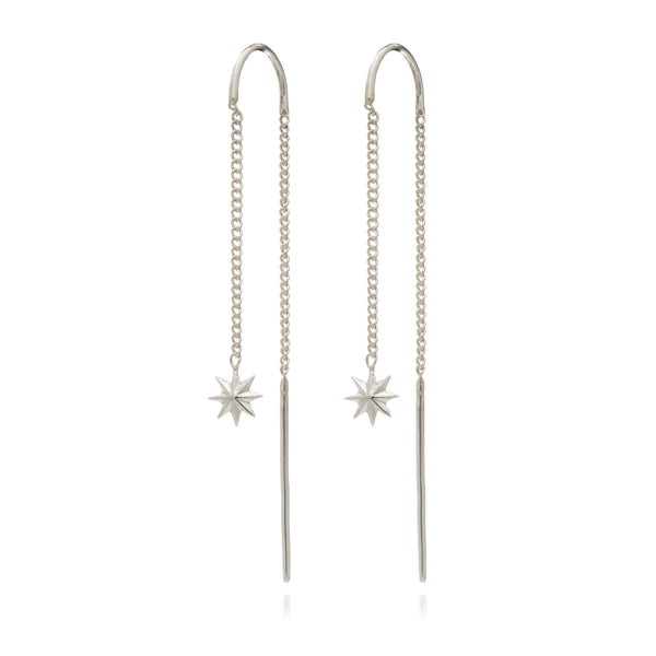 Star chain threader earring silver Rachel Jackson London