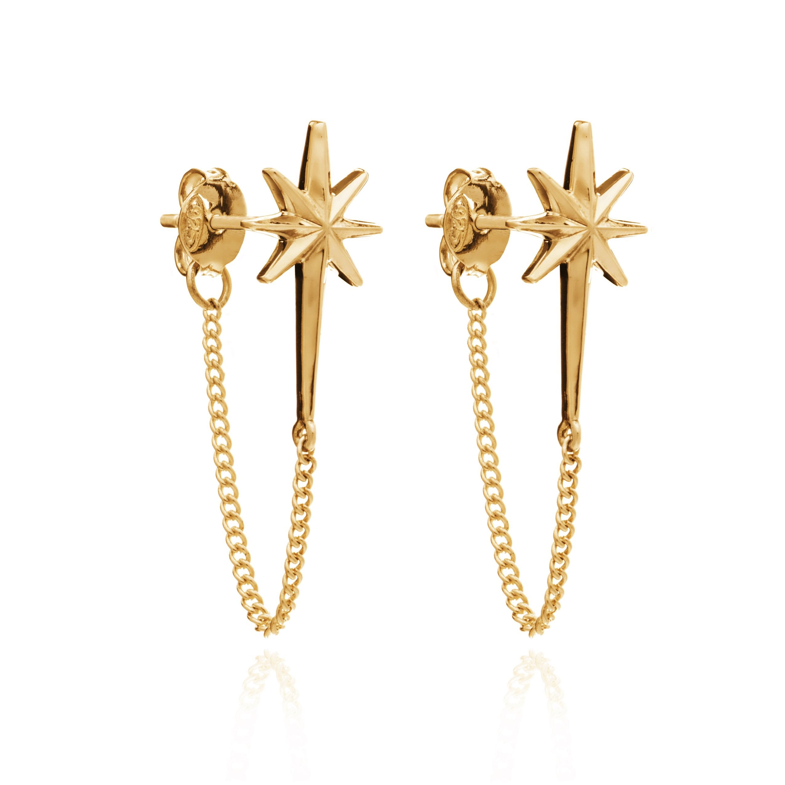 Star chain stud earrings gold Rachel Jackson London