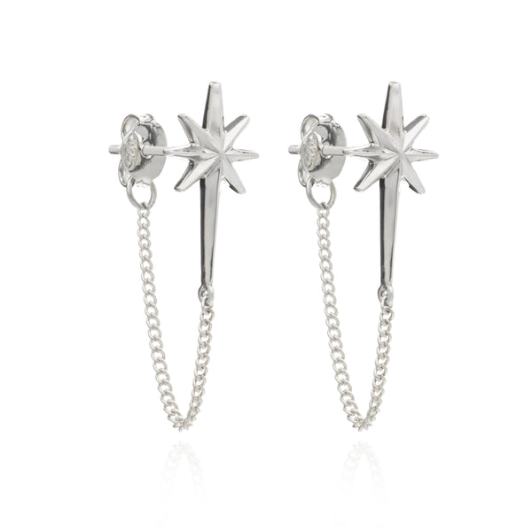 Star chain stud earring silver Rachel Jackson London