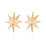 Star stud earrings  large gold Rachel Jackson London