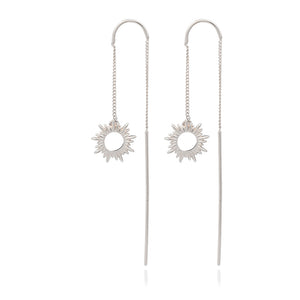Electric Goddess Sun Threader Earrings - Silver