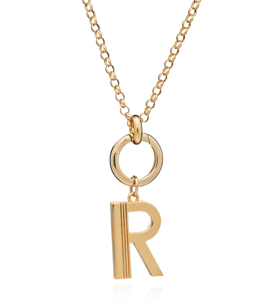 Mother of Daughters large Initial charm necklace chunky chain gold Rachel Jackson London