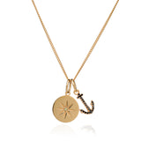 Mother Of Daughters Anchor and birthstone disc necklace gold Rachel Jackson London